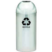 Open Top Dome Recycling Receptacle, Chrome, With Galvanized Liner And Recycle Symbol Decal, 15 Gal.
