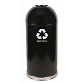 Open Top Dome Recycling Receptacle, Black, With Galvanized Liner And Recycle Symbol Decal, 15 Gal.