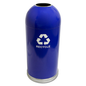 Open Top Dome Recycling Receptacle, Blue, With Galvanized Liner And Recycle Symbol Decal, 15 Gal.