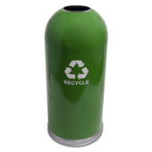 Open Top Dome Recycling Receptacle, Green, With Galvanized Liner And Recycle Symbol Decal, 15 Gal.