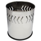 Small round executive wastebasket with arrow band pattern, stainless steel, 10-1/8''Dia x 11-5/8''H