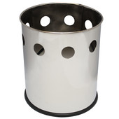 Small round executive wastebasket with hole band pattern, stainless steel, 10-1/8''Dia x 11-5/8''H