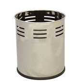Small round executive wastebasket with slot band pattern, stainless steel, 10-1/8''Dia x 11-5/8''H