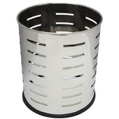Small round executive wastebasket with slot pattern, stainless steel, 10-1/8''Dia x 11-5/8''H