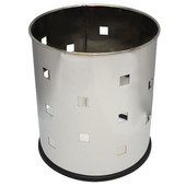 Small round executive wastebasket with square pattern, stainless steel, 10-1/8''Dia x 11-5/8''H