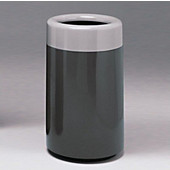 Dual Finished Round Fiberglass Waste Receptacle, 20''Dia x 32''H, 27 Gallons