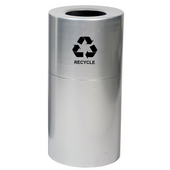 Aluminum Recycling Receptacle, Satin Clear Coat, With Plastic Liner And Recycle Symbol Decal, 35 Gal.
