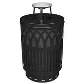 Outdoor Receptacle With Laser Cut Design, Ash Top, Plastic Liner, Black, 40 Gal