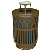 Outdoor Receptacle With Laser Cut Design, Ash Top, Plastic Liner, Brown, 40 Gal