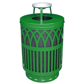 Outdoor Receptacle With Laser Cut Design, Ash Top, Plastic Liner, Green, 40 Gal