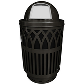 Outdoor Receptacle With Laser Cut Design, Dome Top, Plastic Liner, Black, 40 Gal