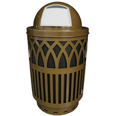 Outdoor Receptacle With Laser Cut Design, Dome Top, Plastic Liner, Brown, 40 Gal