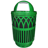 Outdoor Receptacle With Laser Cut Design, Dome Top, Plastic Liner, Green, 40 Gal
