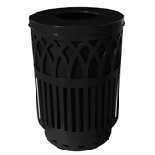 Outdoor Receptacle With Laser Cut Design, Flat Top, Plastic Liner, Black, 40 Gal
