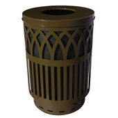 Outdoor Receptacle With Laser Cut Design, Flat Top, Plastic Liner, Brown, 40 Gal