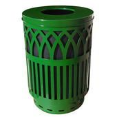 Outdoor Receptacle With Laser Cut Design, Flat Top, Plastic Liner, Green, 40 Gal