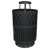 Outdoor Receptacle With Laser Cut Design, Rain Cap, Plastic Liner, Black, 40 Gal