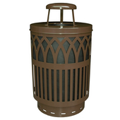 Outdoor Receptacle With Laser Cut Design, Rain Cap, Plastic Liner, Brown, 40 Gal