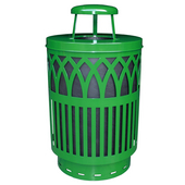 Outdoor Receptacle With Laser Cut Design, Rain Cap, Plastic Liner, Green, 40 Gal