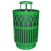 Outdoor Receptacle With Laser Cut Design, Rain Cap, Plastic Liner, Green, 40 Gal
