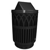 Outdoor Receptacle With Laser Cut Design, Swing Top, Plastic Liner, Black, 40 Gal