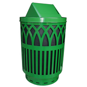 Outdoor Receptacle With Laser Cut Design, Swing Top, Plastic Liner, Green, 40 Gal