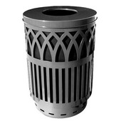 Outdoor receptacle with laser cut design, flat top, plastic liner, silver, 24''Dia x 34-5/8''H