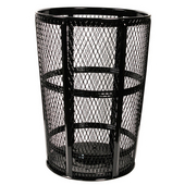 Black Metal Outdoor Trash Receptacle, 48 Gallons