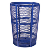 Blue Metal Outdoor Trash Receptacle, 48 Gallons