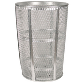 Galvanized Metal Outdoor Trash Receptacle, 48 Gallons