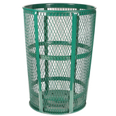 Green Metal Outdoor Trash Receptacle, 48 Gallons