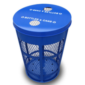 Expanded Metal Outdoor Recycling Container, Flat Top With 2 Round Openings, Blue, 48 Gal.