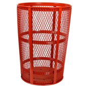 Red Metal Outdoor Trash Receptacle, 48 Gallons