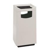 Fiberglass Food Court Square Square Square Receptacle With Push Door For Disposal, Plastic Liner, 30 Gal., Pure White, Gloss Granite