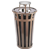Oakley Slatted Metal Waste Receptacle with Ash Urn Lid, 23'' Dia. x 44-1/4''H, 24 gal, Brown