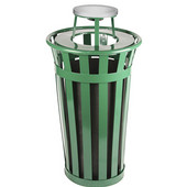 Oakley Slatted Metal Waste Receptacle with Ash Urn Lid, 23'' Dia. x 44-1/4''H, 24 gal, Evergreen