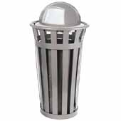 Oakley 24 Gallon Collection Trash Can Receptacle With Dome Top In Silver, 23''Diameter x 44-1/2''H