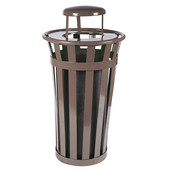 Oakley Slatted Metal Waste Receptacle with Rain Cover Lid and Plastic Liner, 24 Gallons, 23''Dia. X 44-1/4''H, Brown