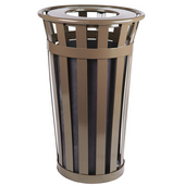 Oakley Slatted Metal Waste Receptacle with Flat Top Lid, 23'' Dia. x 35''H, 24 gal, Brown