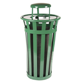 Oakley Slatted Metal Waste Receptacle with Rain Cover Lid and Plastic Liner, 24 Gallons, 23''Dia. X 44-1/4''H, Evergreen