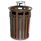SMB Slated Metal Basket with Ash Urn Lid, 36 gal, Brown