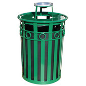 SMB Slated Metal Basket with Ash Urn Lid, 36 gal, Green