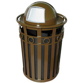 SMB Slated Metal Basket with Dome Top Lid, 36 gal, Brown