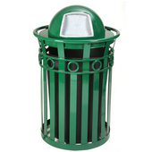 SMB Slated Metal Basket with Dome Top Lid, 36 gal, Green