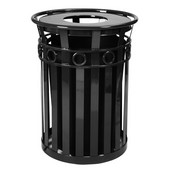 SMB Slated Metal Basket with Flat Top Lid, 36 gal, Black