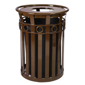 SMB Slated Metal Basket with Flat Top Lid, 36 gal, Brown