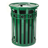 SMB Slated Metal Basket with Flat Top Lid, 36 gal, Green