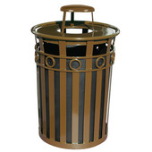 Receptacle with Rain Cover Lid and Plastic Liner, 36 Gallons, 28''Dia. X 44-1/4''H, Brown