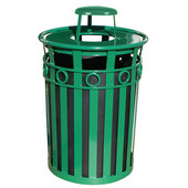 Receptacle with Rain Cover Lid and Plastic Liner, 36 Gallons, 28''Dia. X 44-1/4''H, Green