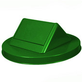 Receptacle with decorative ring band around top, with swing top lid and plastic liner, green, 28''Dia x 45-1/2''H